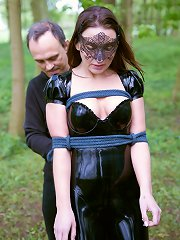 kinky girl wearing a bondage mask submit to her master, ..