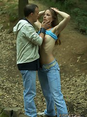 Gorgeous girl grabbed and tied up in the woods to be fuc..